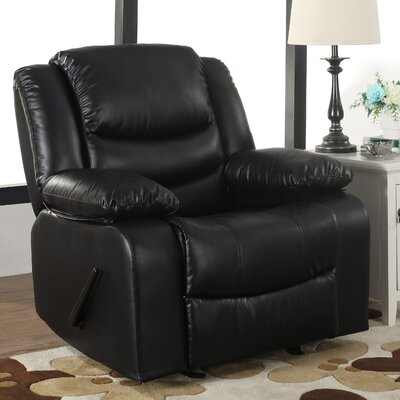 Classic Overstuffed Manual Rocker Recliner Color: Black