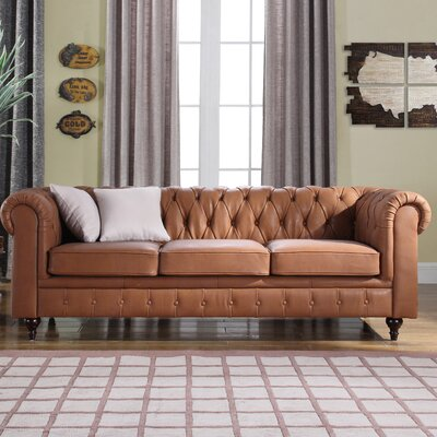 Kacper Tufted Leather Chesterfield Sofa Upholstery: Light Brown