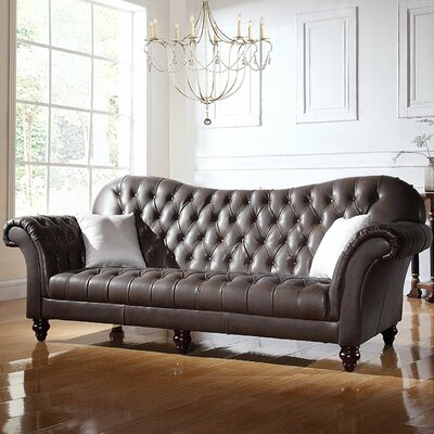 Kacper Victorian Leather Sofa Upholstery: Dark Brown