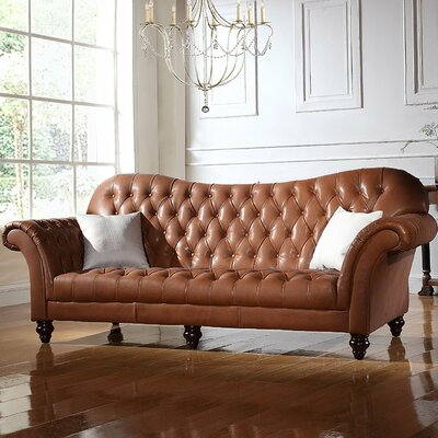 Kacper Victorian Leather Sofa Upholstery: Light Brown