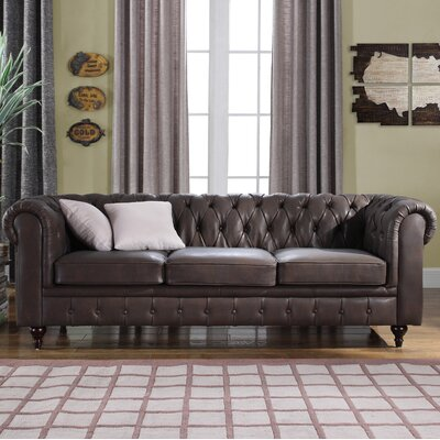 Kacper Tufted Leather Chesterfield Sofa Upholstery: Dark Brown