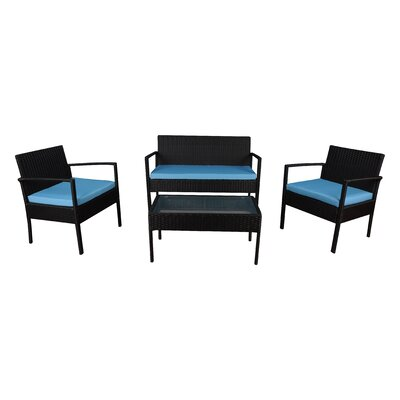4 Piece Lounge Seating Group with Cushions Frame Finish: Black, Fabric: Blue