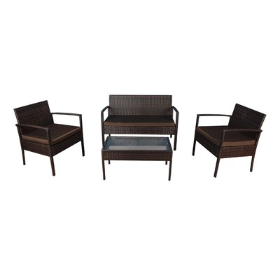 4 Piece Lounge Seating Group with Cushions Frame Finish: Brown, Fabric: Brown