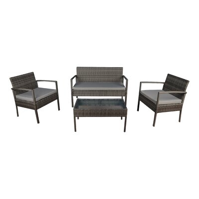 4 Piece Lounge Seating Group with Cushions Frame Finish: Gray, Fabric: Gray