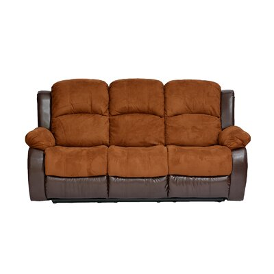 Traditional 2 Tone Recliner Reclining Sofa Upholstery: Brown