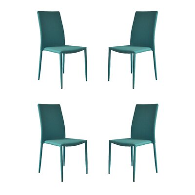 Modern Casual Parsons Chair Upholstery: Blue