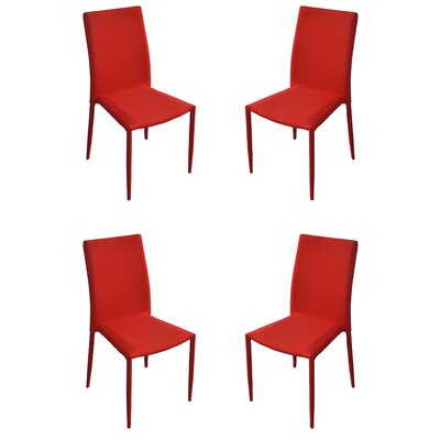 Modern Casual Parsons Chair Upholstery: Red
