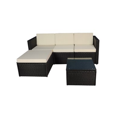 Outdoor Small 3 Piece Sectional Seating Group with Cushion Frame Finish: Black, Fabric: Ivory