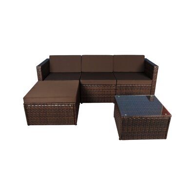 Outdoor Small 3 Piece Sectional Seating Group with Cushion Fabric: Brown, Frame Finish: Brown
