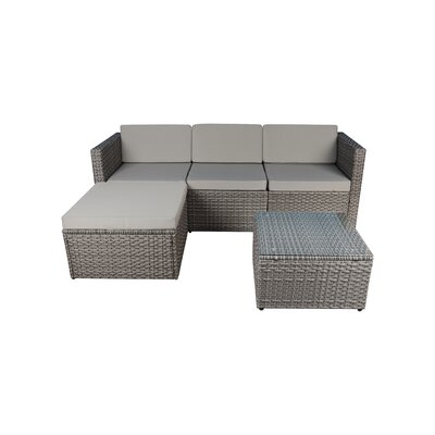 Outdoor Small 3 Piece Sectional Seating Group with Cushion Fabric: Gray, Frame Finish: Gray