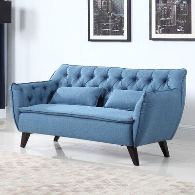 Mid-Century Modern Loveseat Upholstery: Blue