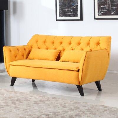 Mid-Century Modern Loveseat Upholstery: Yellow