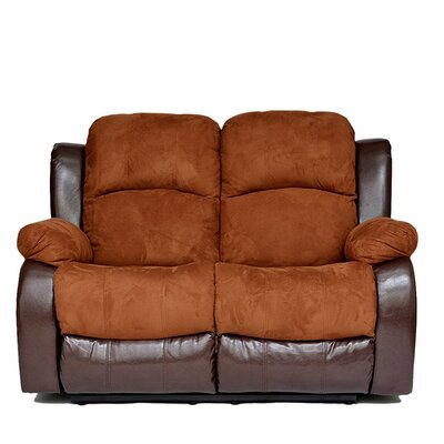 Traditional 2 Tone Reclining Loveseat Upholstery: Brown