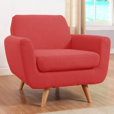 Mid-Century Modern Accent Armchair Upholstery: Red