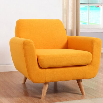 Mid-Century Modern Accent Arm Chair Upholstery: Yellow
