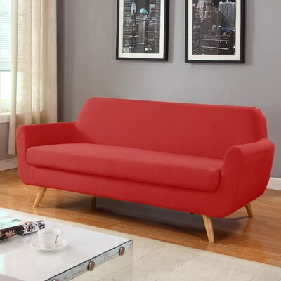 Mid-Century Sofa Upholstery: Red