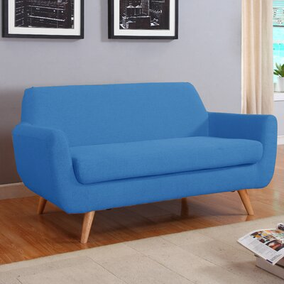 Mid-Century Loveseat Upholstery: Blue