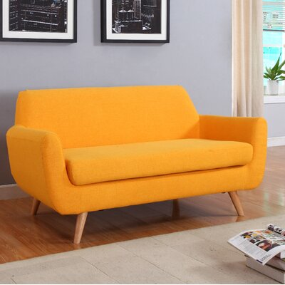 Mid-Century Loveseat Upholstery: Yellow