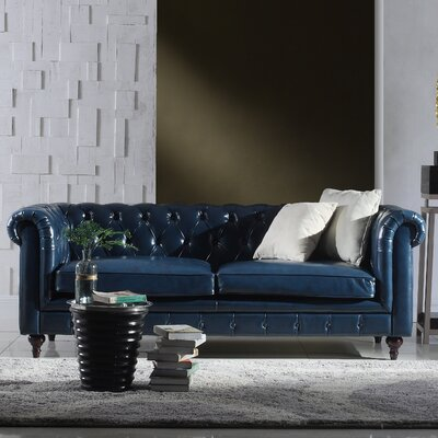 Tufted  Leather Chesterfield Sofa Upholstery: Blue