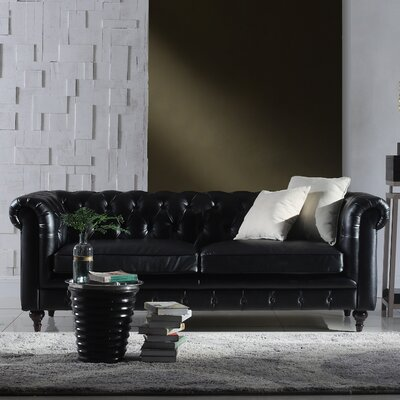Tufted  Leather Chesterfield Sofa Upholstery: Black