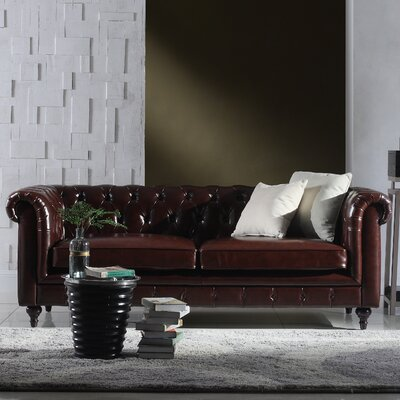Tufted  Leather Chesterfield Sofa Upholstery: Dark Brown