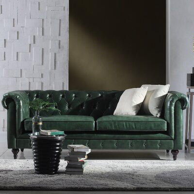 Tufted  Leather Chesterfield Sofa Upholstery: Green