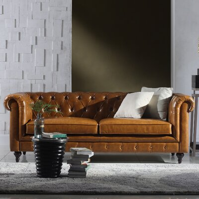 Tufted Chesterfield Leather Sofa Upholstery: Light Brown