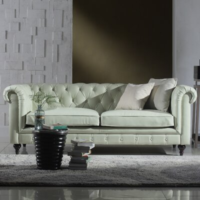 Tufted  Leather Chesterfield Sofa Upholstery: White