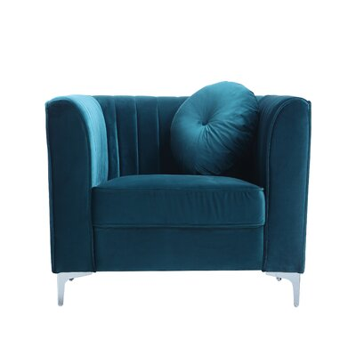 Traditional Velvet Armchair Upholstery: Green