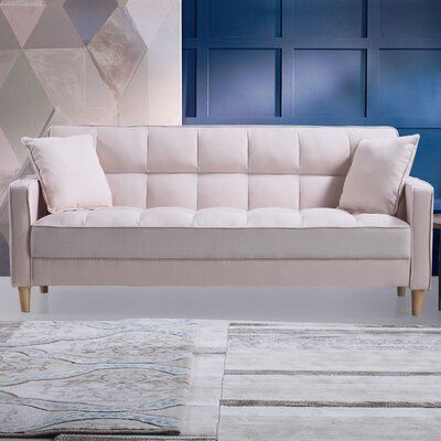 Modern Linen Fabric Tufted Small Space Sofa Upholstery: Beige