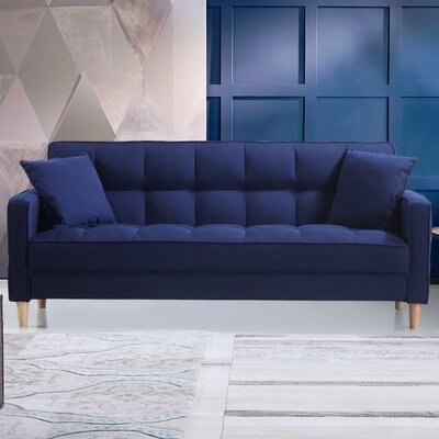 Modern Linen Fabric Tufted Small Space Sofa Upholstery: Blue