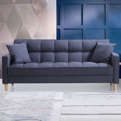Modern Linen Fabric Tufted Small Space Sofa Upholstery: Dark Gray