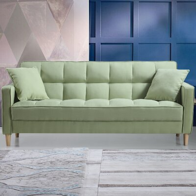 Modern Linen Fabric Tufted Small Space Sofa Upholstery: Green