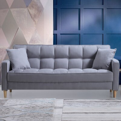 Modern Linen Fabric Tufted Small Space Sofa Upholstery: Light Gray