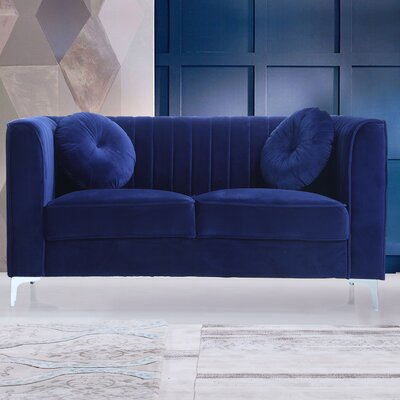 Traditional Velvet Loveseat Upholstery: Blue
