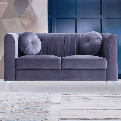 Traditional Velvet Loveseat Upholstery: Gray