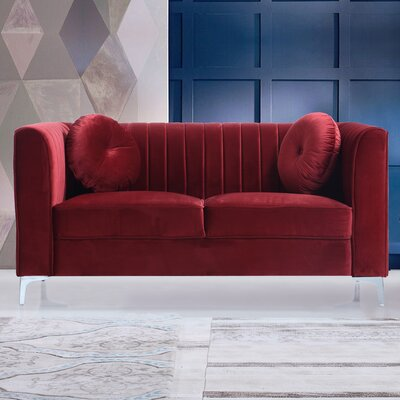 Traditional Velvet Loveseat Upholstery: Red