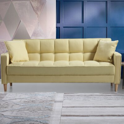 Modern Linen Fabric Tufted Small Space Sofa Upholstery: Yellow