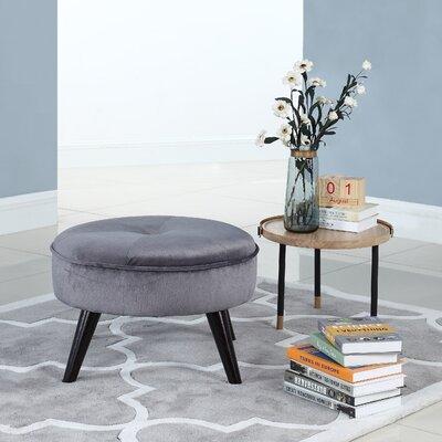 Beemer Round Velvet Ottoman Color: Grey
