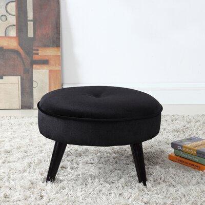 Beemer Round Velvet Ottoman Color: Black