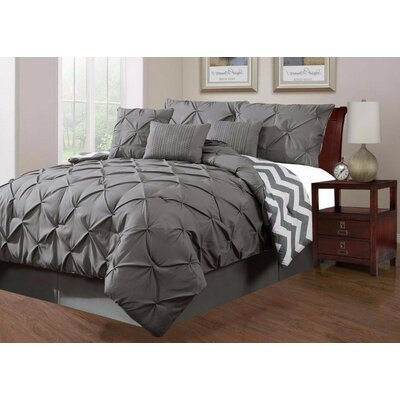 Jorge Pinch 7 Piece Comforter Set Size: King, Color: Gray