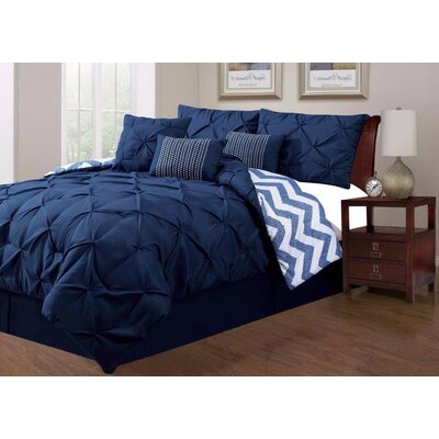 Jorge Pinch 7 Piece Comforter Set Size: King, Color: Navy