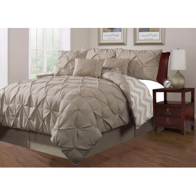 Jorge Pinch 7 Piece Comforter Set Size: Queen, Color: Taupe