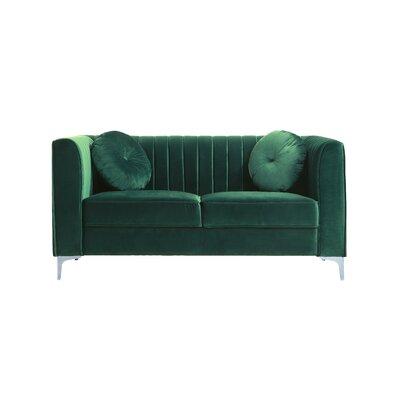 Traditional Velvet Loveseat Upholstery: Green