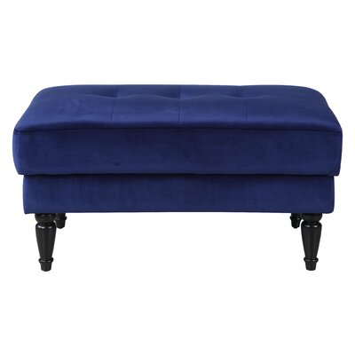 Lasseter Tufted Velvet Ottoman Upholstery : Navy