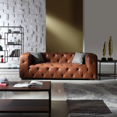 Hamlin Modern Tufted Genuine Leather Sofa Upholstery: Light Brown