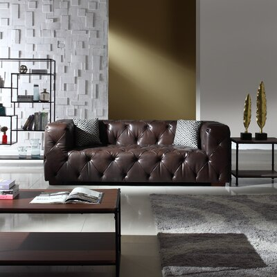 Hamlin Modern Tufted Genuine Leather Sofa Upholstery: Dark Brown