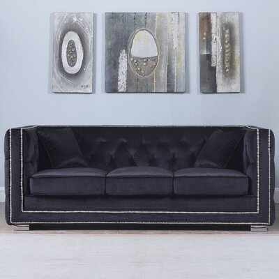 Rubio Modern Tufted Chesterfield Sofa Upholstery: Black