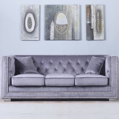 Rubio Modern Tufted Chesterfield Sofa Upholstery: Gray