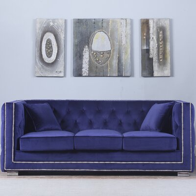 Rubio Modern Tufted Chesterfield Sofa Upholstery: Navy